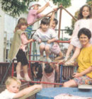In the playground of Hillmorton kindergarten in 1992