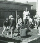 Jill Richardson and the morning group having a lot of fun in the Hillmorton sandpit in 1974