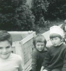 James Townsend, Simon Bach Matthew Cidel,l Michelle Williams, James Tait, Stephen Holm and Jjonathon Briggs playing trains in 1974